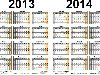 Template 3: Excel template for two year calendar 2013/2014 (landscape ...
