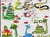 Красочные рамки для фотографий.  Клипарт - Символ 2013 года новогодние змеи и...